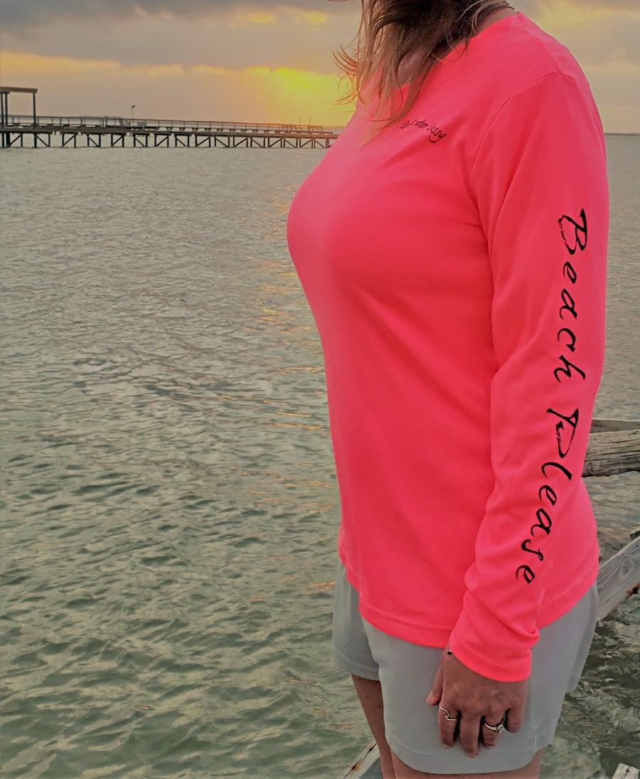 Beach Please Vneck LS Pink